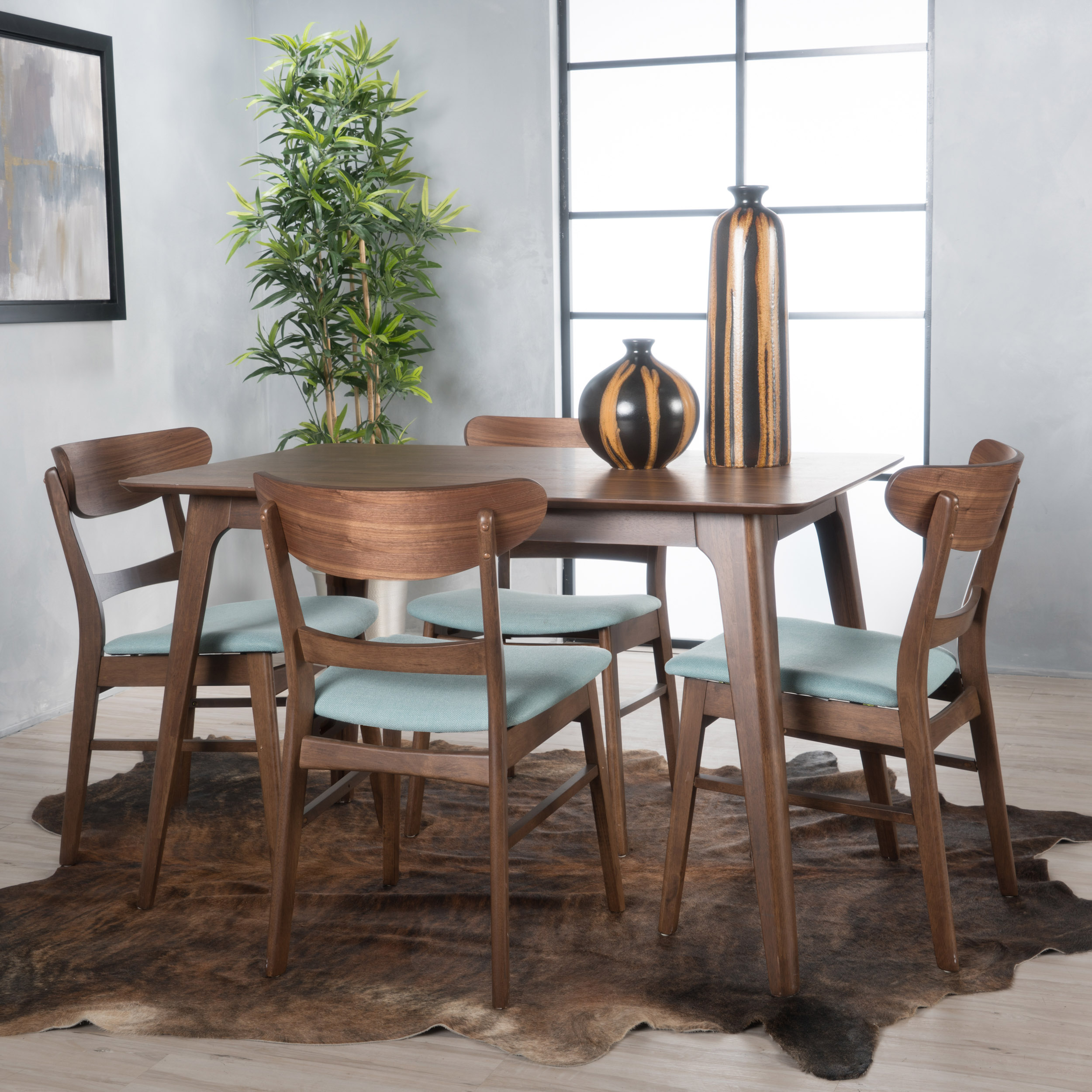 Noble House Lydia Natural Walnut Wood Mint 5 Piece Dining Set