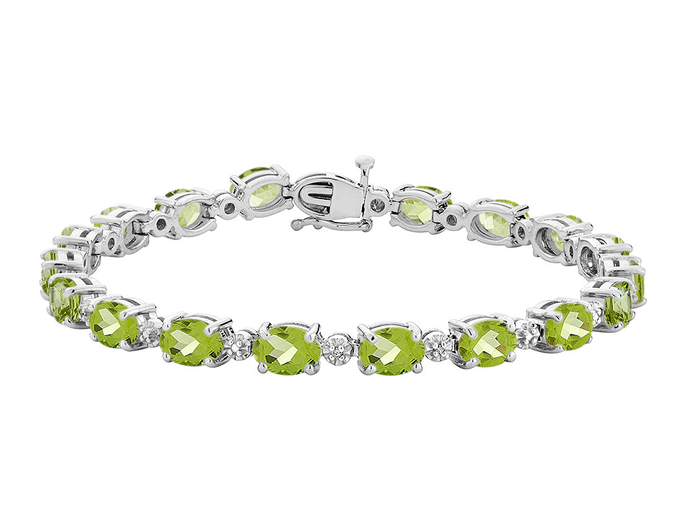 Peridot Bracelet with Diamonds 15.4 Carats (ctw) in Sterling Silver by Gem And Harmony