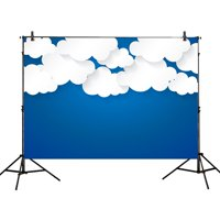 GreenDecor Polyster 7x5ft photography backdrops white cloud Bule sky Birthday party banner photo studio booth background newborn baby shower child photocall