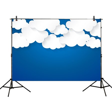 GreenDecor Polyster 7x5ft photography backdrops white cloud Bule sky Birthday party banner photo studio booth background newborn baby shower child photocall (Sky Backdrop)