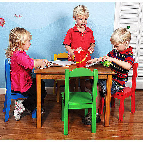 Tot Tutors Wood Table and Chair Set, Multiple Colors