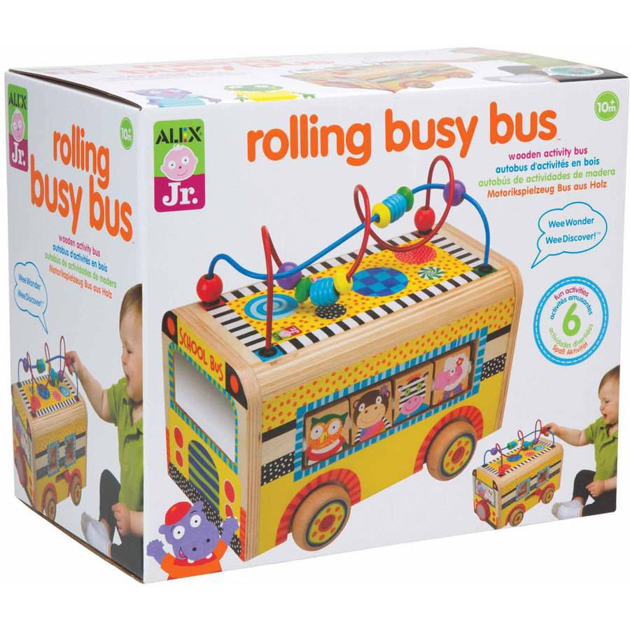 ALEX Toys ALEX Jr. Rolling Busy Bus Baby Wooden Developmental Toy