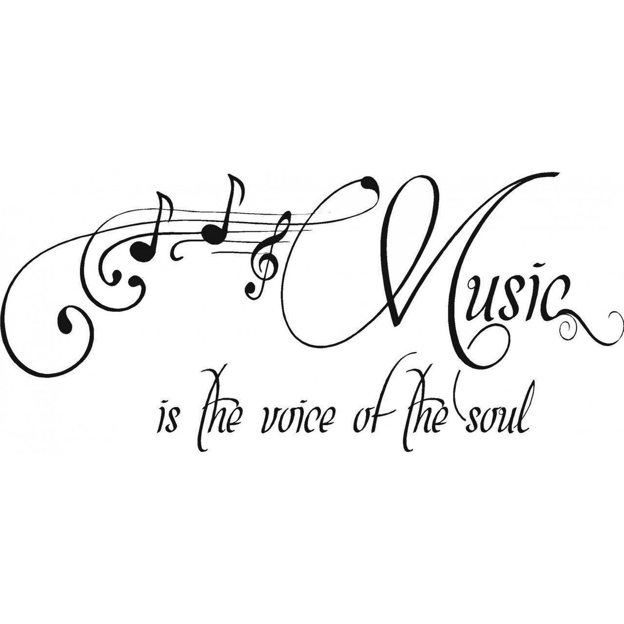 "Music Is The Voice Of The Soul Quote Bedroom Vinyl Wall Decal, 9"" x 20"", Black"