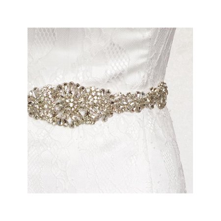 Luxury Rhinestone Crystal Wedding Dress Beaded Bridal Sash Belt Band Bride Gown Waistband 24'' - Wedding Dress Sash
