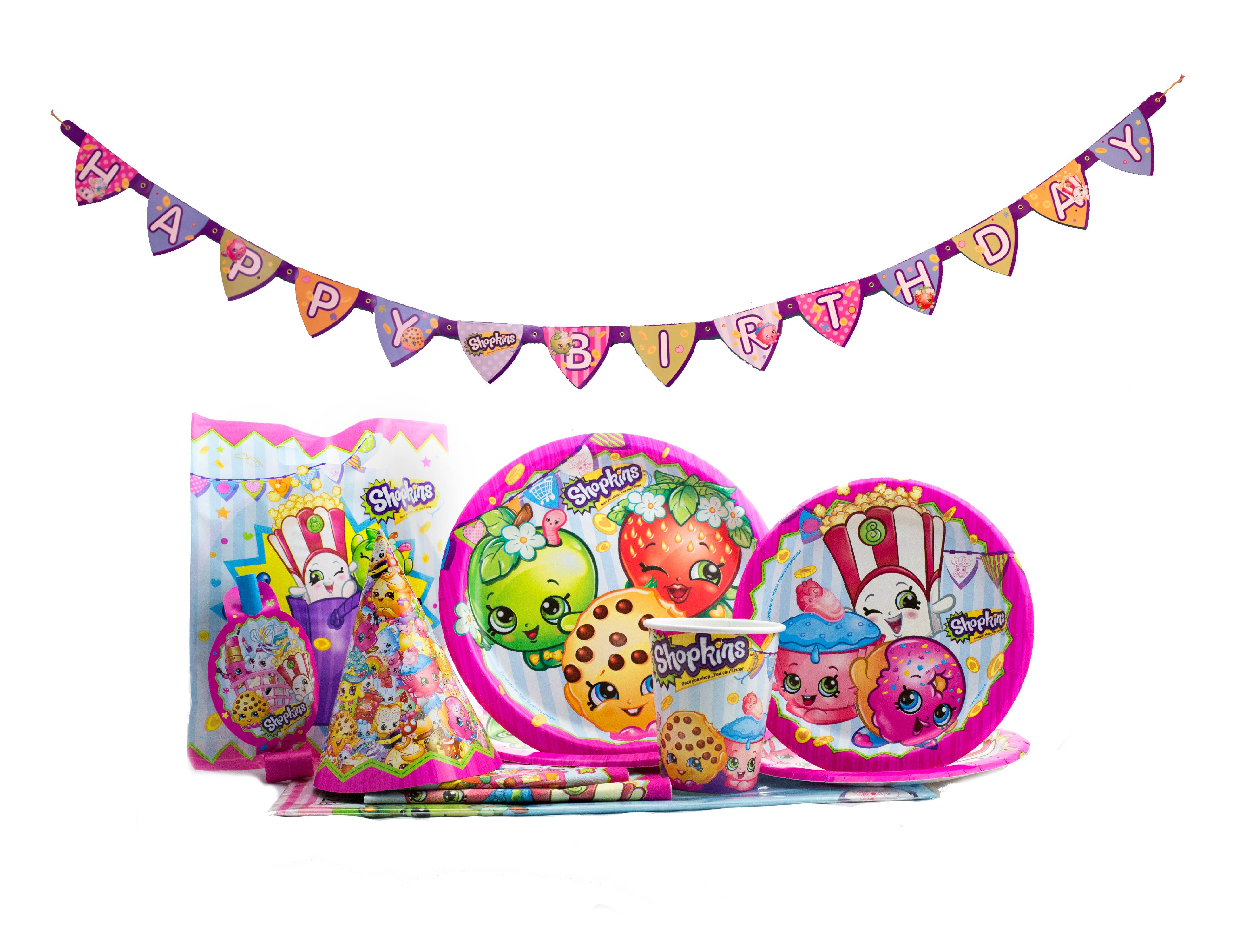 Details about  /Shopkins Birthday Party LotScene Setter Plates Napkins Table Cover
