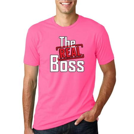 0703f242c Wild Bobby - The Real Boss | Mens Humor Graphic T-Shirt, Neon Pink, Small -  Walmart.com