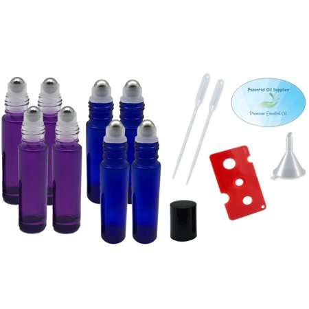 10ml Roller Bottles with Stainless Steel Balls (4 Purple and 4 Cobalt Blue), Pipettes, Funnel, and Essential Oil Bottle Opener