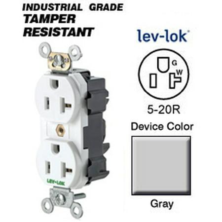 Leviton Spec (Leviton M5362-GYS 5-20R Lev-Lok Narrow Body Duplex Receptacle Fed Spec - Gray)