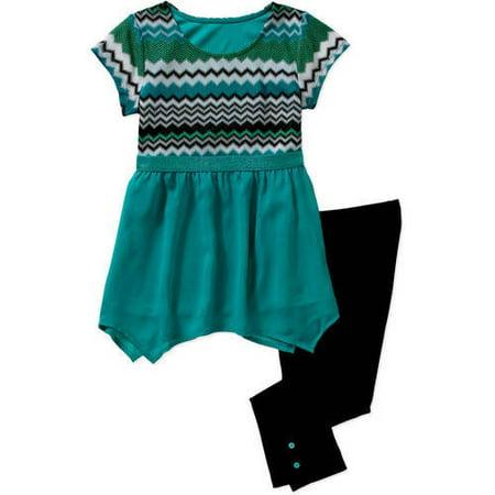George Girls' Crochet Chiffon Top and Leggings Set
