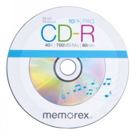 100 Memorex 40X Digital Audio Music CD-R 80min 700MB Spin Base (Logo on (Memorex White Cd Labels Matte Finish 300 Count)