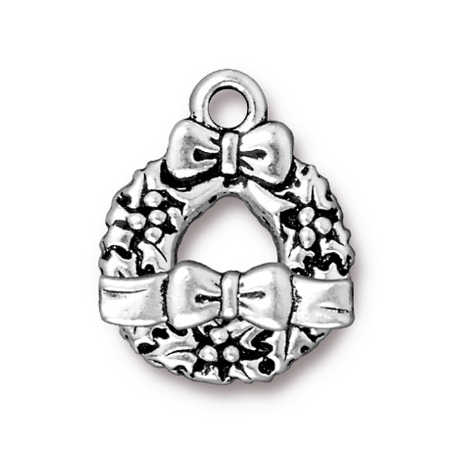 Antiqued Silver Plated Lead-Free Pewter Toggle Clasp Wreath With Bow 20.5mm (1)