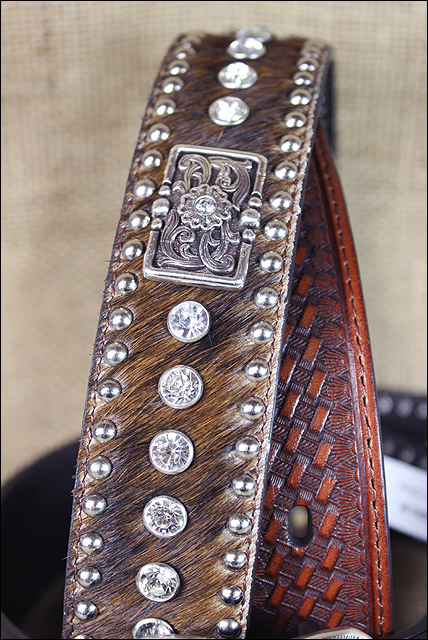 Nocona Western Mens Belt Leather Rhinestones Calf Hair Conchos Brown N2442302