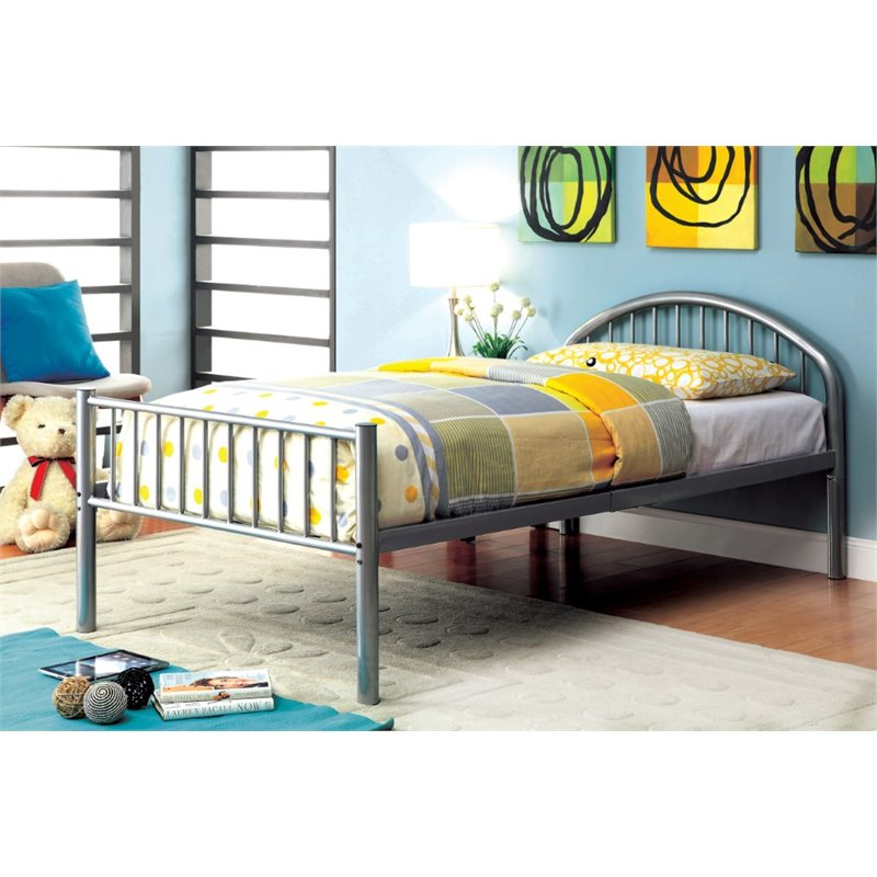 Furniture of America Capelli Twin Metal Slat Bed in Silver