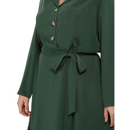 Agnes Orinda Women's Plus Size Button Down Lapel Vintage Shirt Dress Green 2X - image 2 of 6