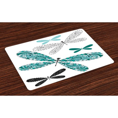 Dragonfly Placemats Set of 4 Ornamental Dragonfly Figures with Lace and Damask Effects Artsy Image, Washable Fabric Place Mats for Dining Room Kitchen Table Decor,Teal Turquoise Black, by Ambesonne
