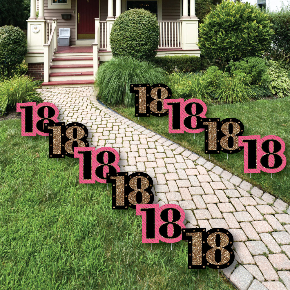 Chic 18th Birthday - Pink, Black and Gold Lawn Decorations - Outdoor Birthday Party Yard Decorations - 10 Piece
