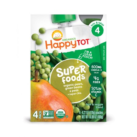 - Happy Tots Organic Superfood Green Beans, Pear & Pea
