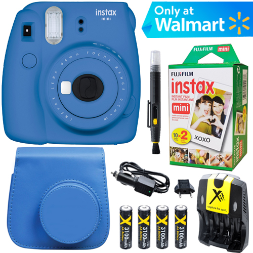 Fujifilm Instax Mini 9 Instant Camera (Cobalt Blue) + Blue Case + 20 pk Film Kit
