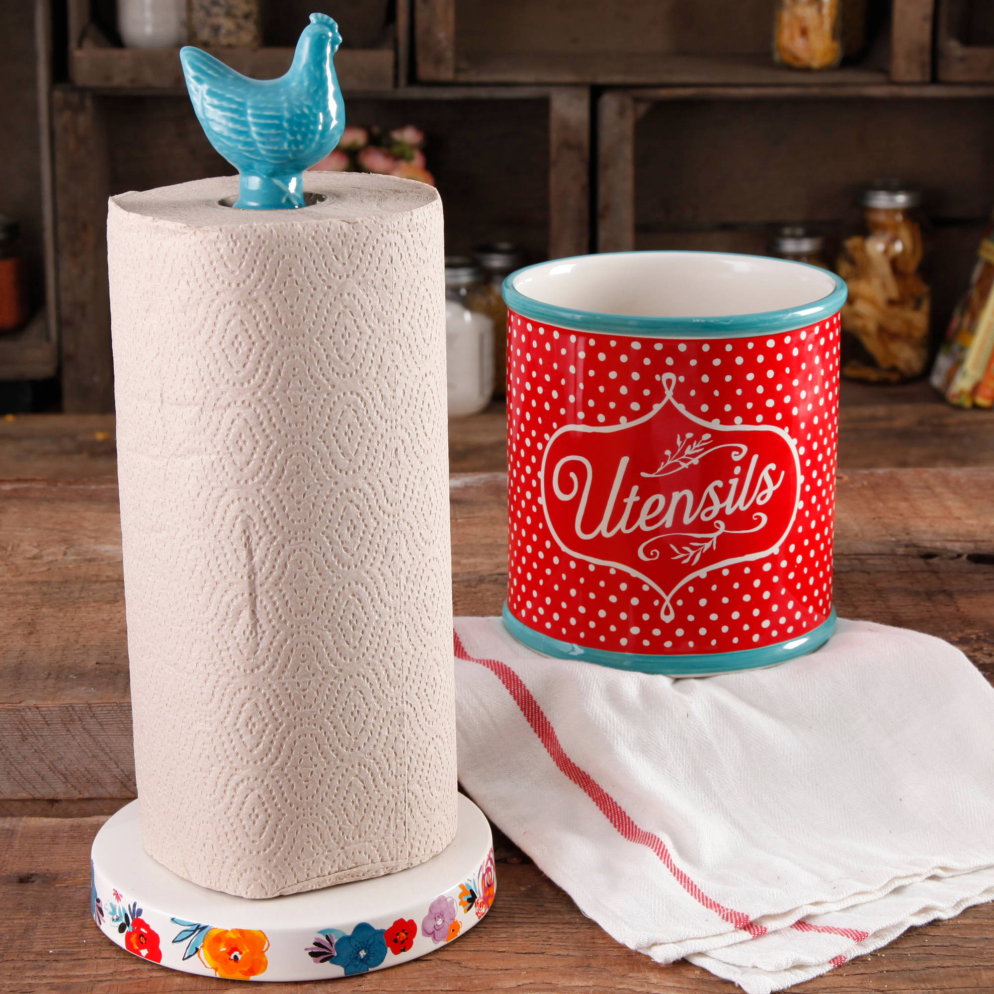 The Pioneer Woman Flea Market Stoneware Turquoise Paper Towel Holder And Crock