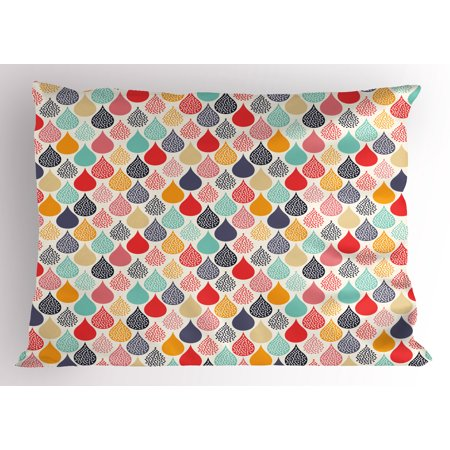 Cute Baby Themes (Geometric Pillow Sham Raindrops Doodle Style Cute Creative Leaf Shaped Colorful Girls Kids Baby Theme, Decorative Standard Size Printed Pillowcase, 26 X 20 Inches, Multicolor, by)