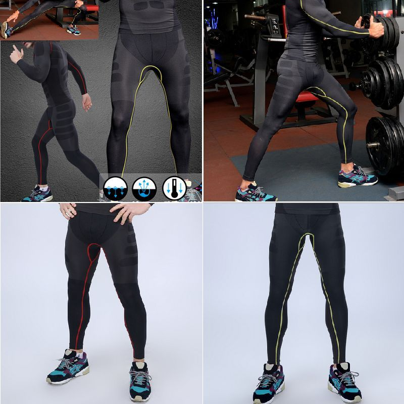 Mens Athletic Pants Compression Running Training Base Layers Under Skin Sports Tights Bottom by