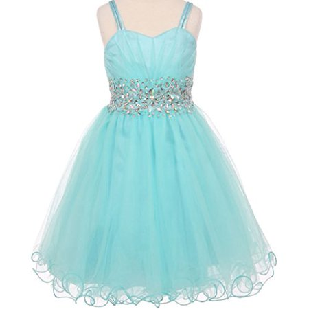 Big Girls Fabulous Mesh Junior Bridesmaid Beaded Waistline Pageant Flower Girl Dress Aqua 10 -