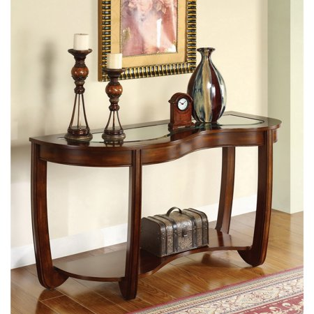 Furniture of America  Curve Dark Cherry Beveled Glass Top Sofa Table