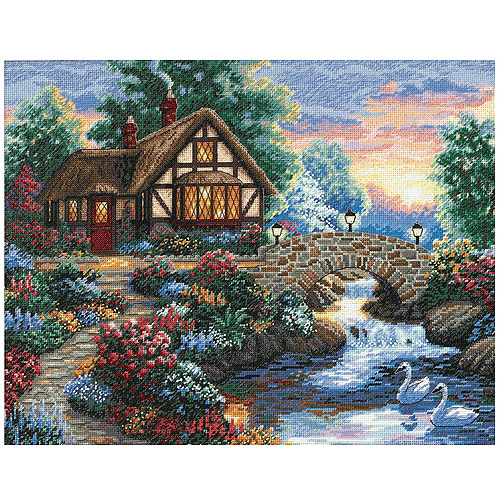"Dimensions Gold Collection ""Twilight Bridge"" Counted Cross Stitch Kit, 14"" x 11"""