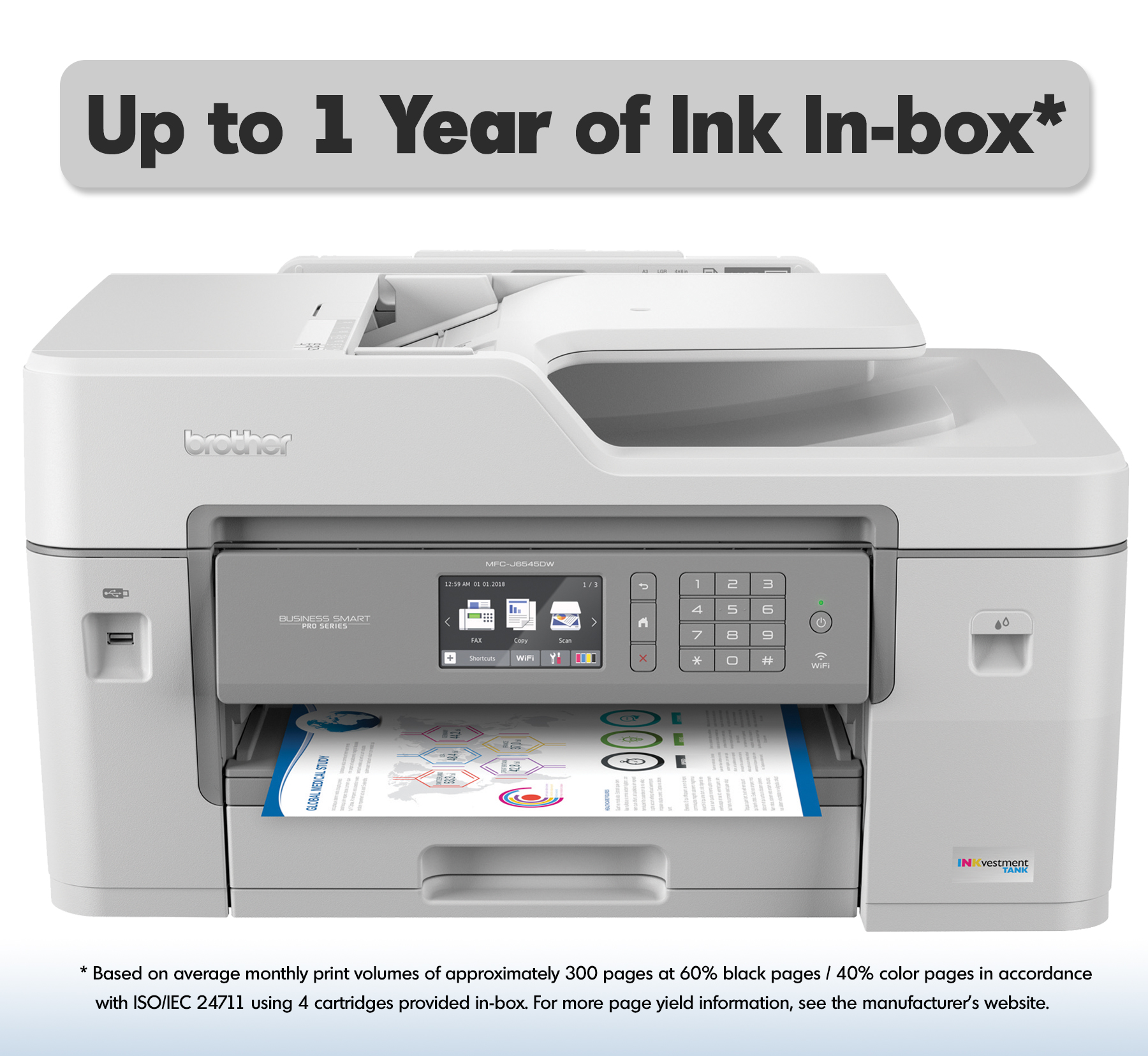 "Brother MFC-J6545DW INKvestment Tank Color Inkjet All-in-One Wireless Printer with 11"" x 17"" Scan Glass and Up to 1-Year of Ink In-box"