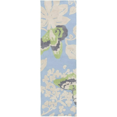 - 2.5' x 8' Butterfly Breeze Sky Blue and Lime Green Super Soft Area Throw Rug Runner