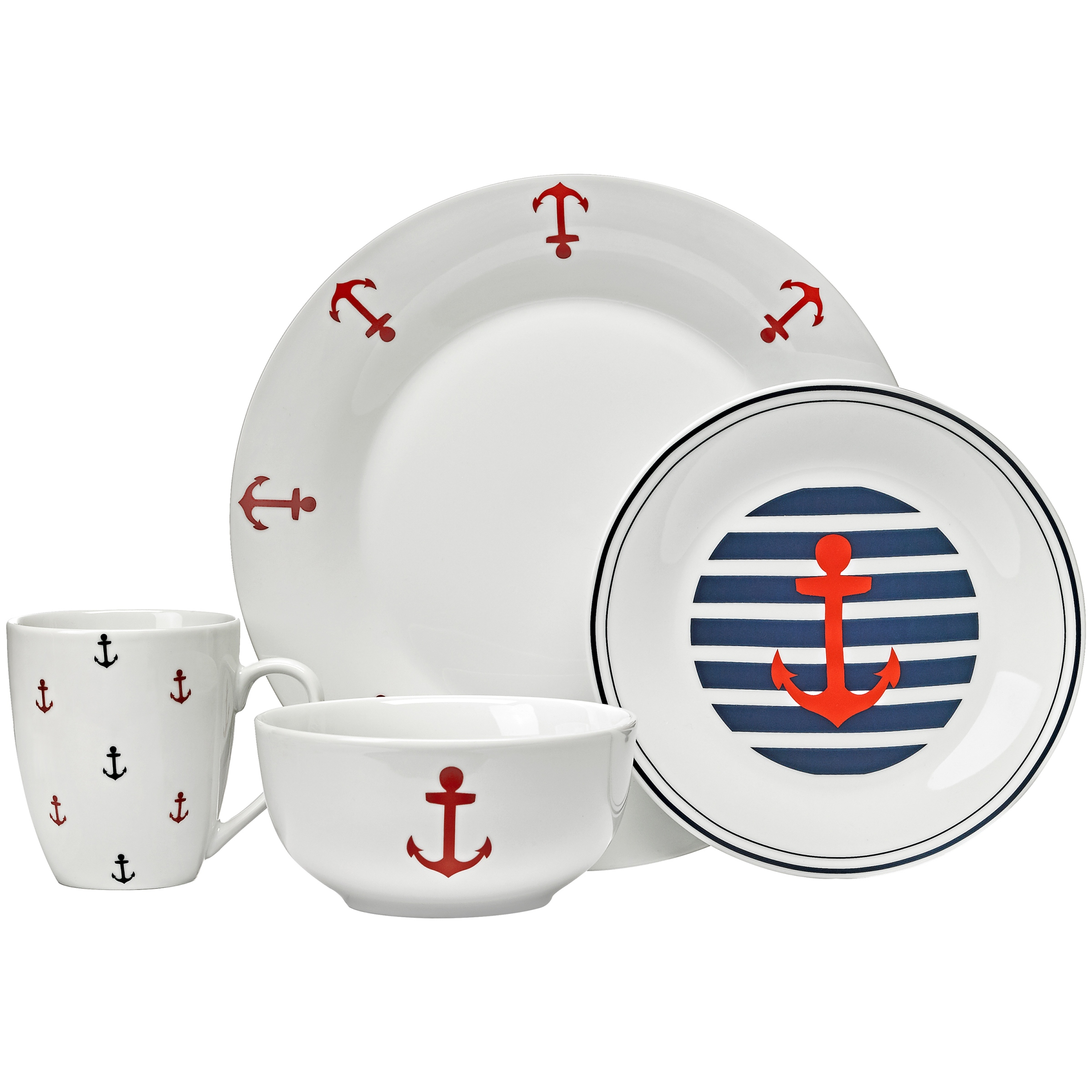 Maritime Collection 16-Piece Dinner Set, Walmart Exclusive