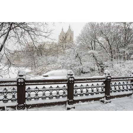 Snow-covered landscape from Oak Bridge Central Park New York City New York United States of America Stretched Canvas - F M Kearney  Design Pics (38 x 24) (White Oak State Park Halloween)