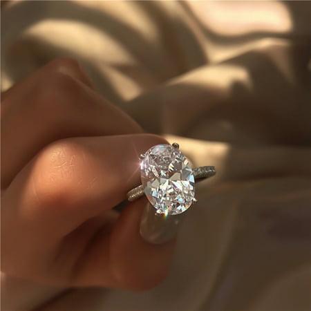 Fancyleo Fashion Luxury Crystal White Zircon Ring Lady Elegant Big AAA Zircon Oval Rhinestone Wedding Bridal  Engagement Rings
