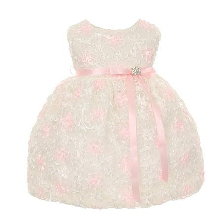 Baby Girls Ivory Satin Embroidered Mesh Flower Girl Dress 3M
