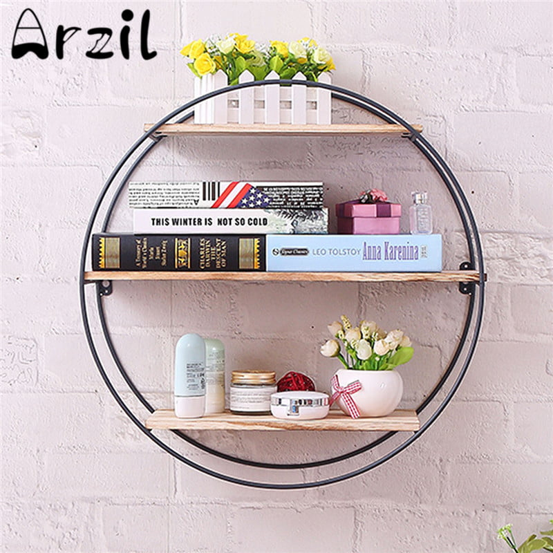 3 Tier Round Wall Shelves Wood, Round Wall Decor With Shelves