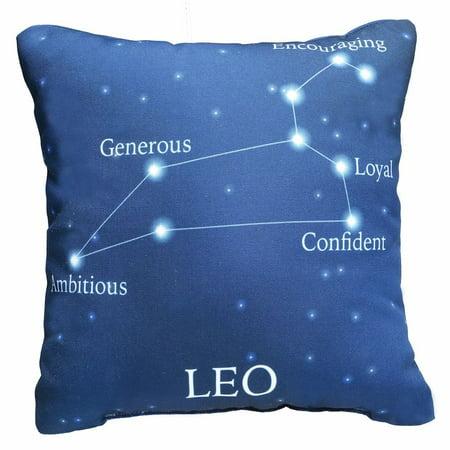 Horoscope Navy Blue Decorative Throw Pillow   Leo