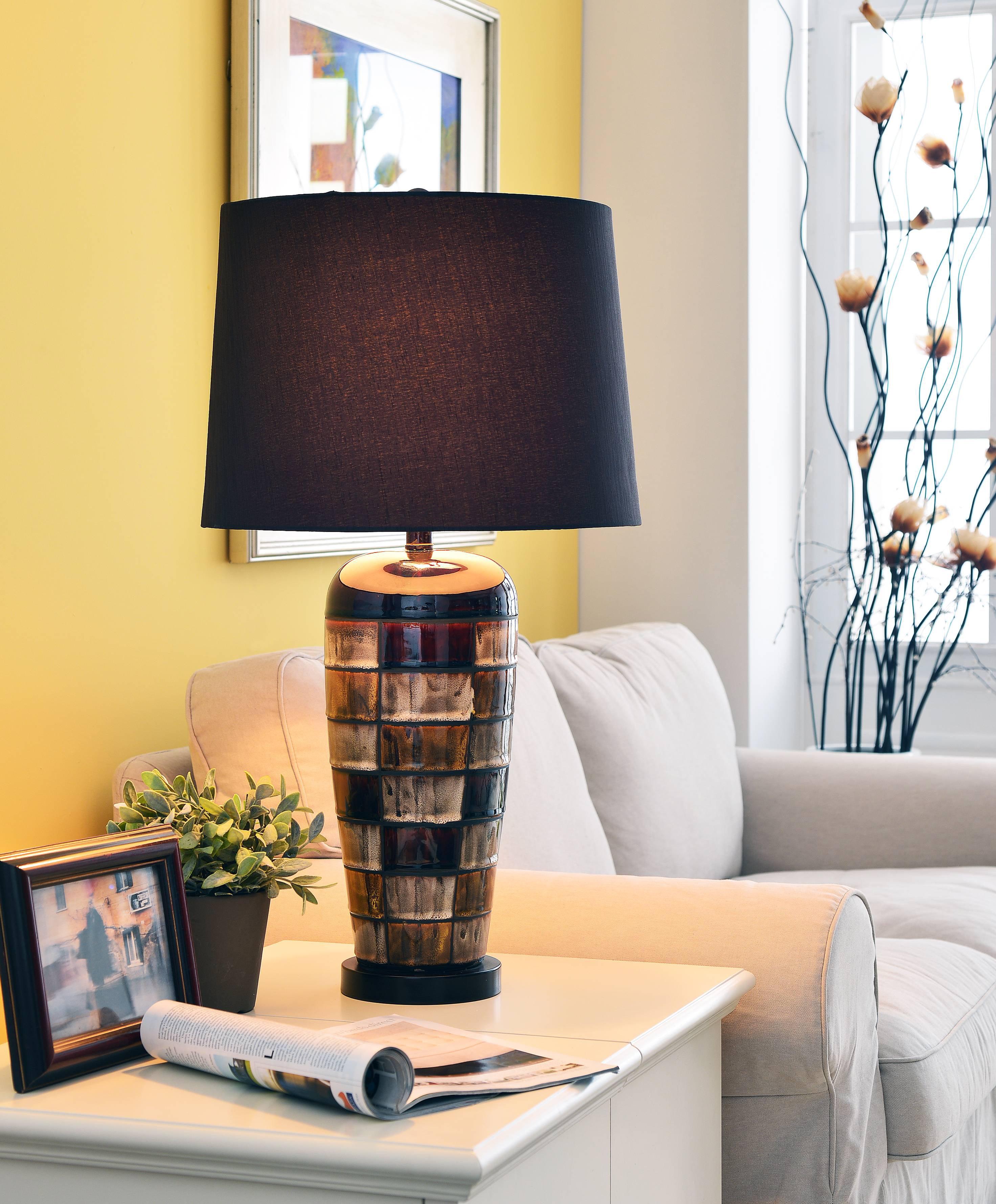Kenroy Home Torino Table Lamp, Ceramic Squares