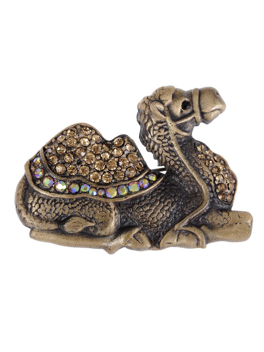 Topaz Crystal Rhinestone Camel Chillin' Smokey Light Animal Brooch Costume Pin by