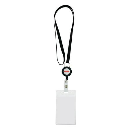 Transparent Vinyl Lanyard - Amram Lanyard & ID Card-Name Tag-Badge Holder Kit. Contains 10 sets of Lanyards (Black), Retractable 24