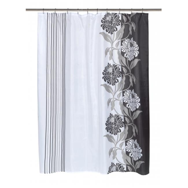 Carnation Home Fashions SC-FAB-84-CH-16 Extra Long Chelsea Fabric Shower Curtain in Black-White