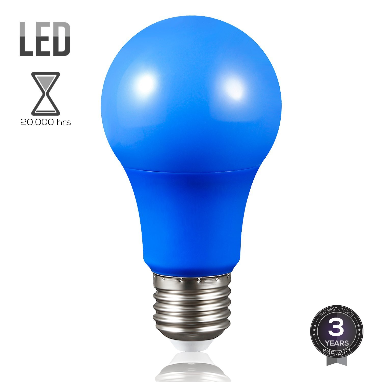 TORCHSTAR A19 LED Colored Light Bulb, 7W LED Light Bulbs, Night Light Bulbs, LED Light Bulb for Decoration, E26 Medium Base, Blue