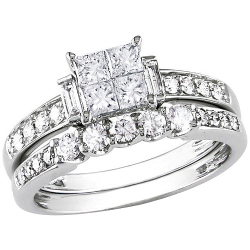 Miabella 1 Carat T.W. Princess, Round and Baguette-Cut Diamond Bridal Ring Set in 10kt White Gold by Generic