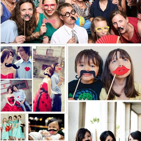 Womail 56pcs DIY Photo Booth Props Moustaches On A Stick For Wedding Party
