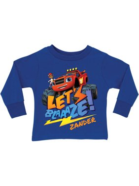 Personalized Blaze and the Monster Machines Royal Blue Boys' Youth Long Sleeve Tee