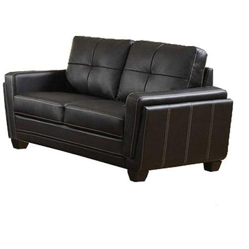 Furniture of America Blacksburg Leatherette Loveseat, Black