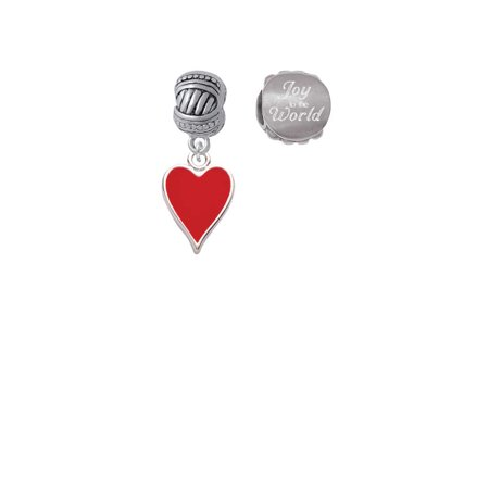 Silvertone Card Suit - Red Heart Joy to the World Charm Beads (Set of 2) (Card Suit Jewelry)