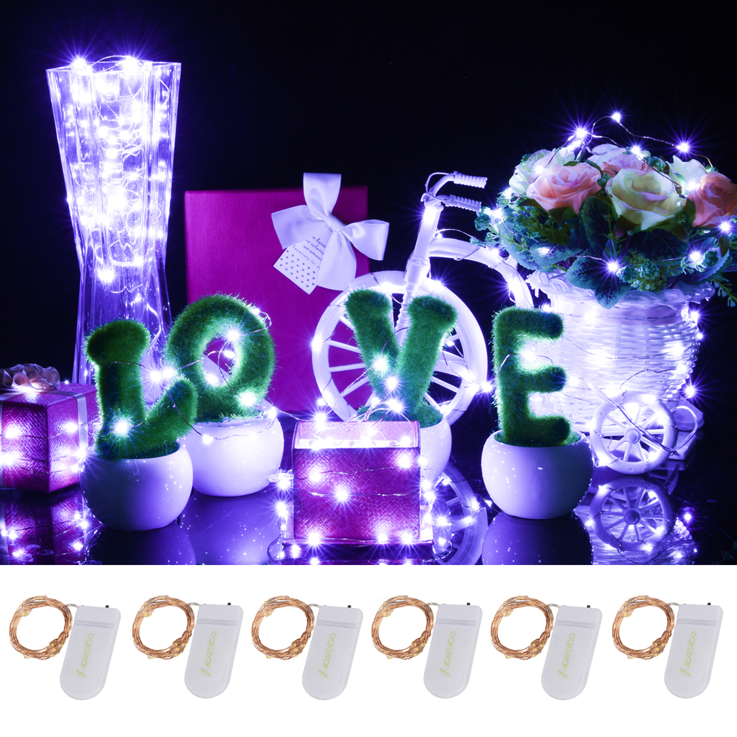 Oak Leaf 3.3ft Set of 6 Starry Lights 20 LED String Lights with 20 Fairy Bright LEDs for Home Wedding Party Christmas Table 6-pack,Purple