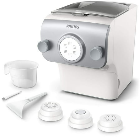 Philips Avance Collection Automatic Pasta and Noodle Maker Plus w/ 4 Interchangeable Pasta Shaping Discs, Silver - HR2375/06 (Latest Version, 2019 (Best Pasta Machine 2019)
