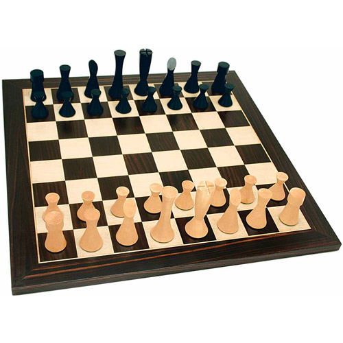 Grand Modern Chess Set, Weighted Pieces and Black Stained Board, 19""