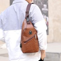 Men Outdoor Fashion Leather Students Sport Pure Color Crossbody Bag Chest Bag Phone Bag